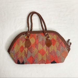 Vntg LEATHER PURSE Woven LJS Collection Boho